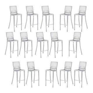 Philippe Starck Emeco Hudson Bar Stool in Hand Brushed Stainless Steel 12 Available For Sale