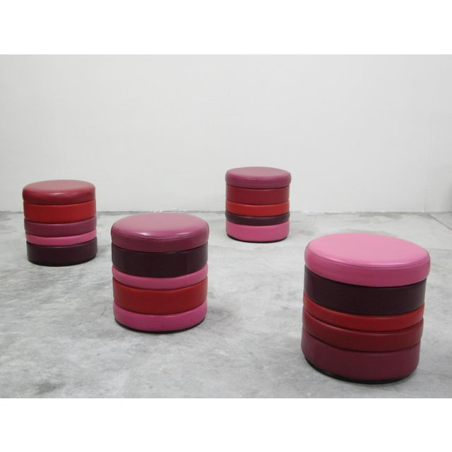 FUN FUN FUN. The options are limitless with this set of 4, all original vintage stacked colorful vinyl stools. Fun and...