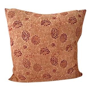 Floral Kalamkari Print Throw Pillow For Sale