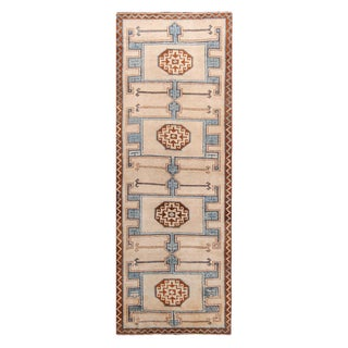 Vintage Mid-Century Geometric Cream Beige and Blue Wool Runner Rug - 4′8″ × 13′6″ For Sale