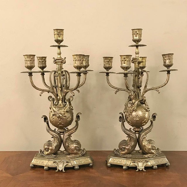 Pair 19th Century French Renaissance Dolphin Candelabra For Sale - Image 13 of 13