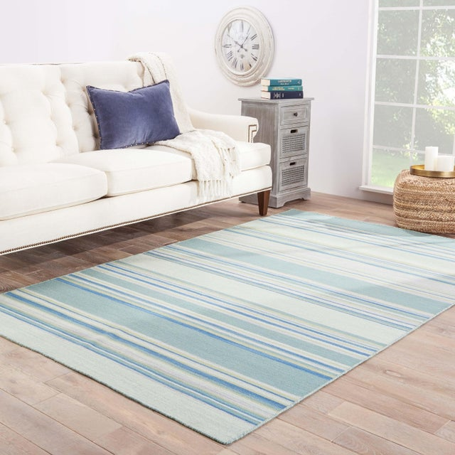 2010s Jaipur Living Kiawah Handmade Striped Blue/ Turquoise Area Rug - 8′ × 10′ For Sale - Image 5 of 6