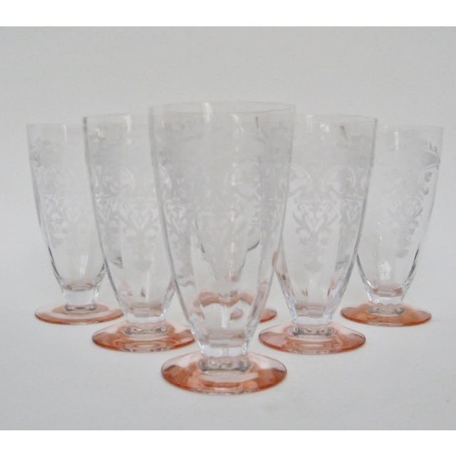 Vintage Etched Glasses, Set of 6 For Sale - Image 4 of 6
