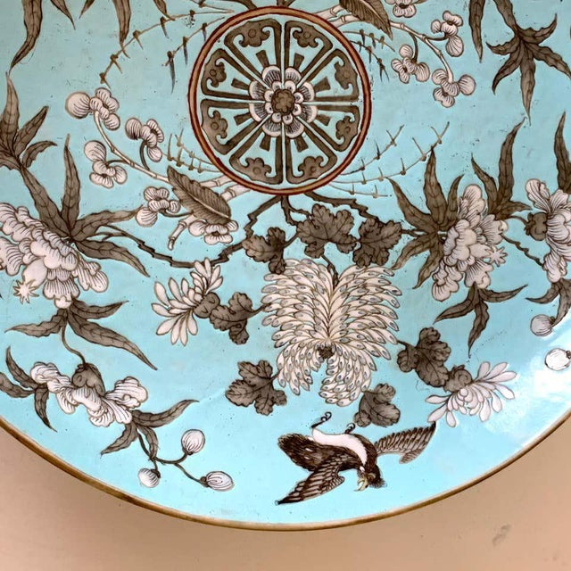 19th Century Chinese Export Powder Blue Ho Ho Bird Motif Charger For Sale - Image 11 of 12