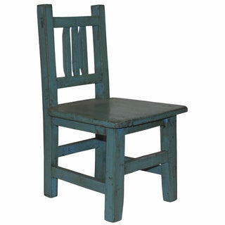 Rustic Blue Lacquered Child's Chair For Sale