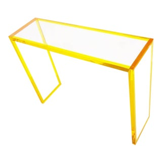 Yellow and Clear Lucite Console For Sale