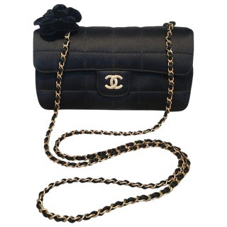 Chanel Quilted Black Silk Mini Camellia Classic Flap Shoulder Bag For Sale