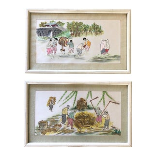 Chinoiserie Framed Embroidery Art - a Pair For Sale