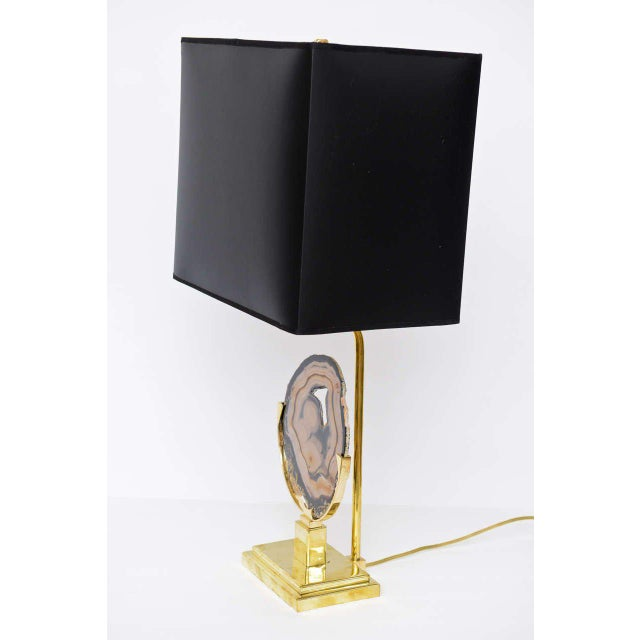 Brass Table Lamp with Agate Disc For Sale - Image 4 of 10
