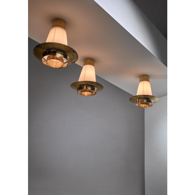 Mid-Century Modern Yki Nummi Set of Three Ceiling Lamps for Orno For Sale - Image 3 of 5