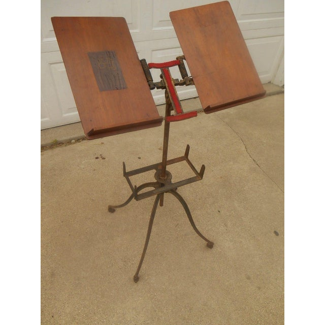 Antique Victorian Wrought Iron Book Stand - Image 3 of 7