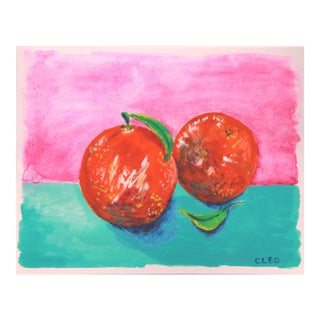 Orange Abstract Still Life Painting by Cleo For Sale