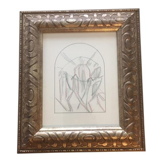 Original Art Deco Cubist Pencil Drawing For Sale