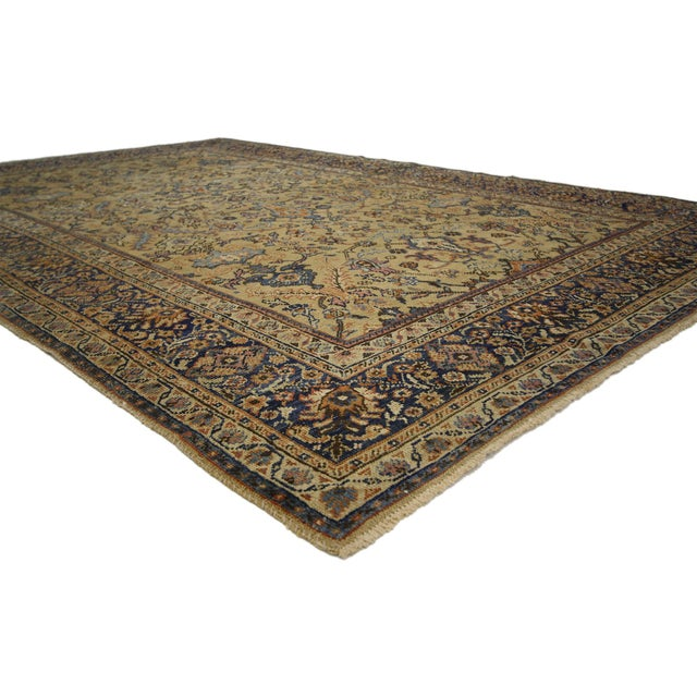 74036 Distressed Antique Persian Sultanabad Rug with Rustic Spanish Colonial Style 06'04 x 09'10. This hand knotted wool...