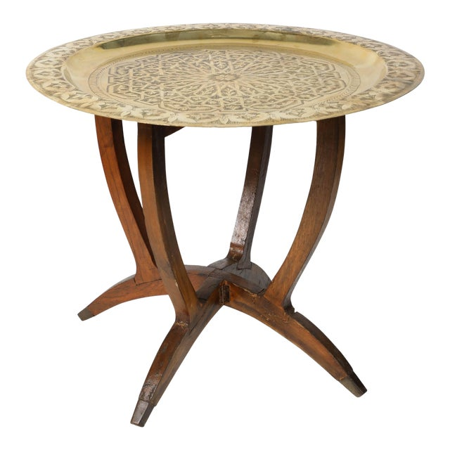 Polished Moroccan Brass Tray Side Table on Spider-Leg For Sale
