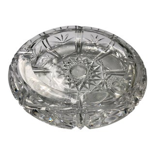 American Brilliant Crystal Cut Round Ashtray For Sale