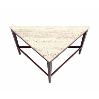 Vintage Mid Century Travertine Top Triangular Corner Table onTapered Legs Preview
