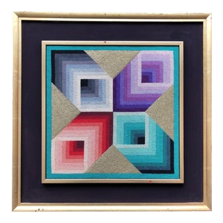1960s-1970s Vintage Art Cubes Needle Point Wall Hanging