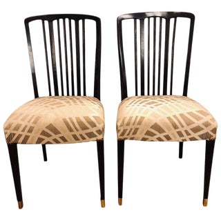 Georg Kofoed Style Mid-Century Modern Ebony Dining or Side Chairs 2 For Sale