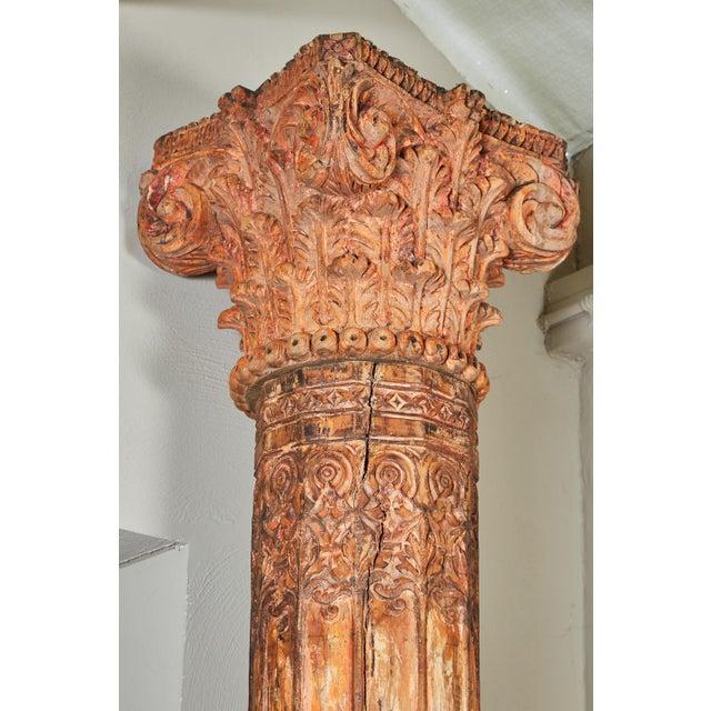 Pair of Orange Tall Indian Teak Wood Pillars - Image 4 of 9