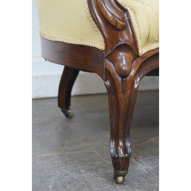 Yellow Antique 19th Century Victorian Carved Rosewood Settee Loveseat For Sale - Image 8 of 10