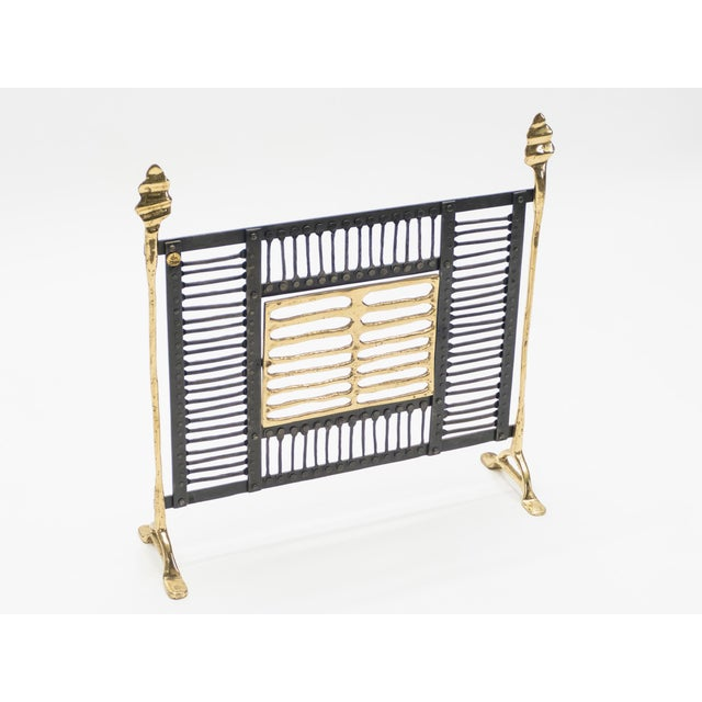 1980s Unique Brass and Wrought Iron Fire Screen Manner of Garouste and Bonetti, 1980s For Sale - Image 5 of 13