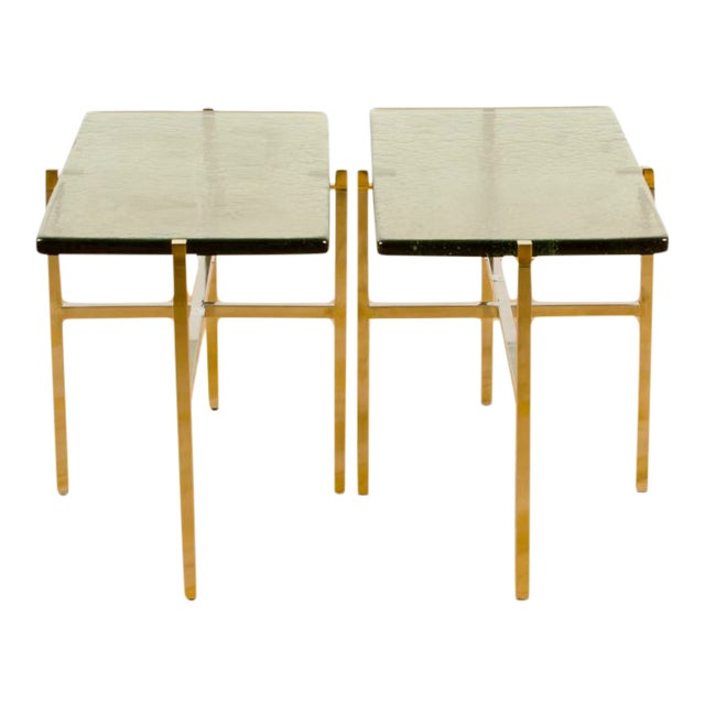 Italian Mid-Century Smoky Glass Top End Tables - a Pair For Sale
