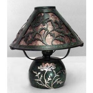 American Mission bronze green patina boudoir table lamps- A Pair For Sale In New York - Image 6 of 7