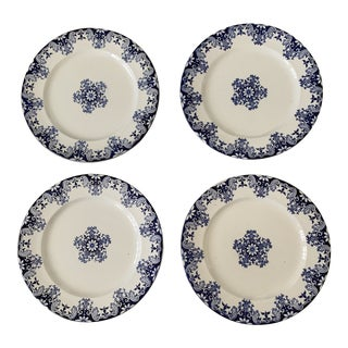 Antique French Blue & White Ironstone Plates - Set of 4 For Sale
