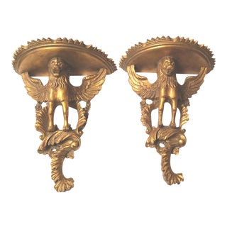 1980s Italian Gilt Winged Griffin Wall Brackets - a Pair For Sale