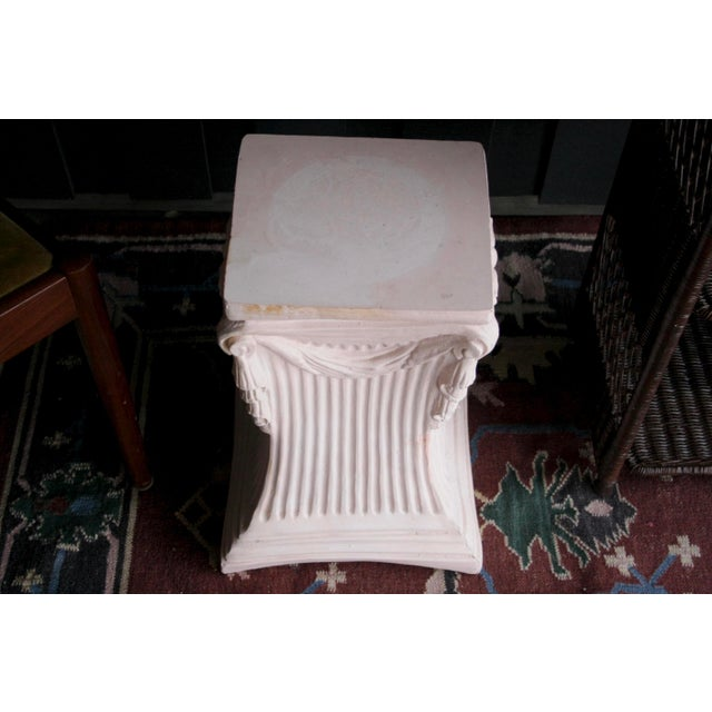 1980s Pink Plaster Pedestal / Plant Stand / Side Table For Sale - Image 5 of 11