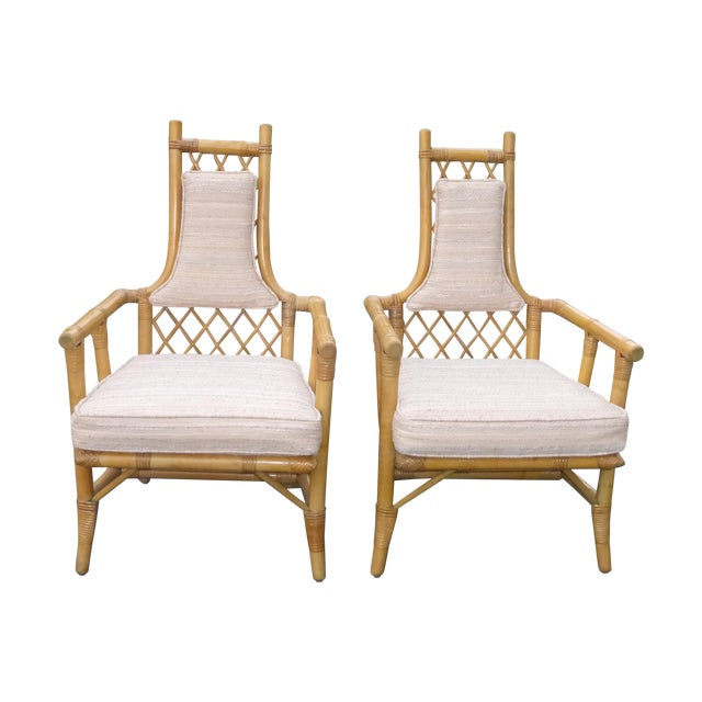 Vintage Mid Century Bamboo Chairs - A Pair - Image 1 of 10
