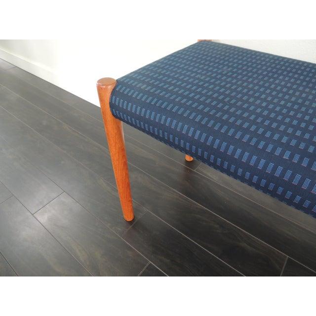 Danish modern Teak J.L. Møllers Møbelfabrik bench. Original fabric.