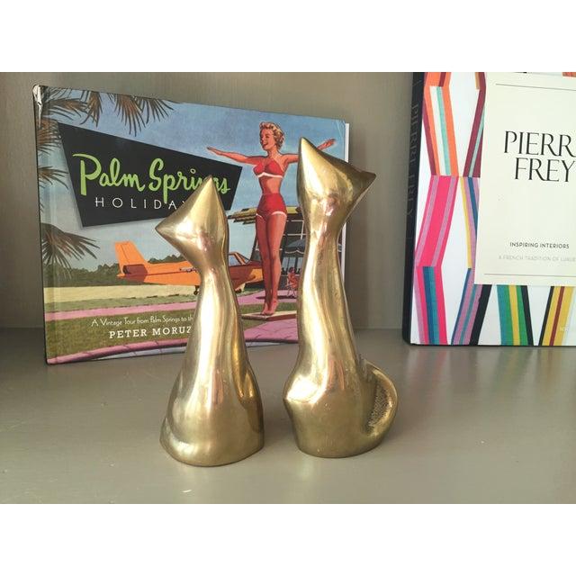 Mid-Century Modern Brass Siamese Cats - Pair - Image 4 of 4