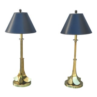 1970s Upside Down Brass Palm Tree Lamps - a Pair For Sale