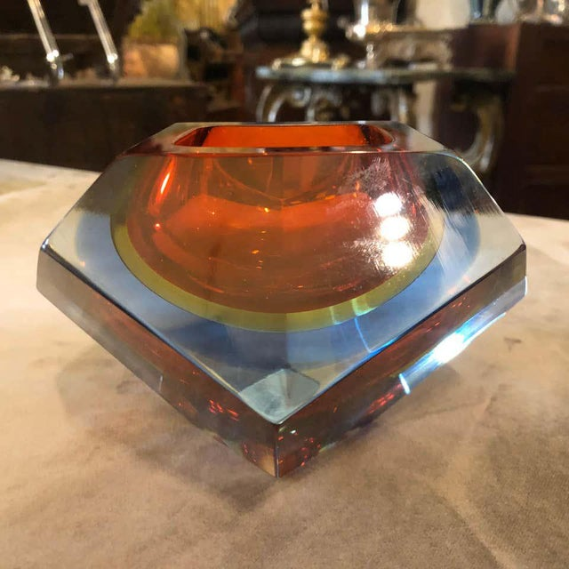 1960s Seguso Sommerso Faceted Murano Glass Ashtray For Sale - Image 10 of 11