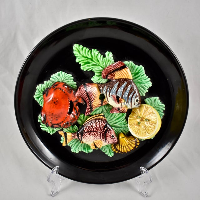 Vallauris French Provençal Palissy Trompe L'oeil Seafood & Lemon Wall Plate For Sale - Image 11 of 11