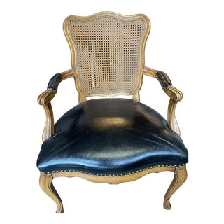 Vintage French Cane Chair W Black Leather Seat For Sale