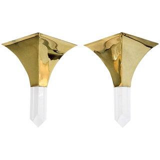 Brass & Lucite Sconces, A Pair