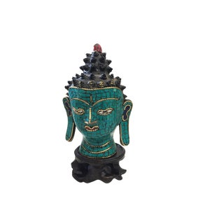 Nepalese Turquoise Stone Buddha Head For Sale