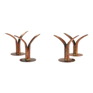 Set of Four Diminutive Copper Ystad Candleholders For Sale
