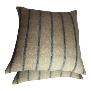 Ralph Lauren Woven Flax, Linen and Jute Fabric Pillows For Sale