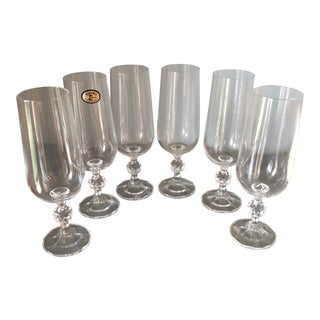 Bohemia Czechoslovakia Collection of Champagne Glasses** - Set of 6 For Sale