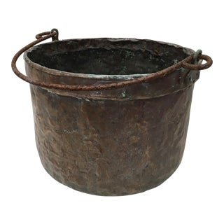 1800's Belgium Copper Cauldron Planter
