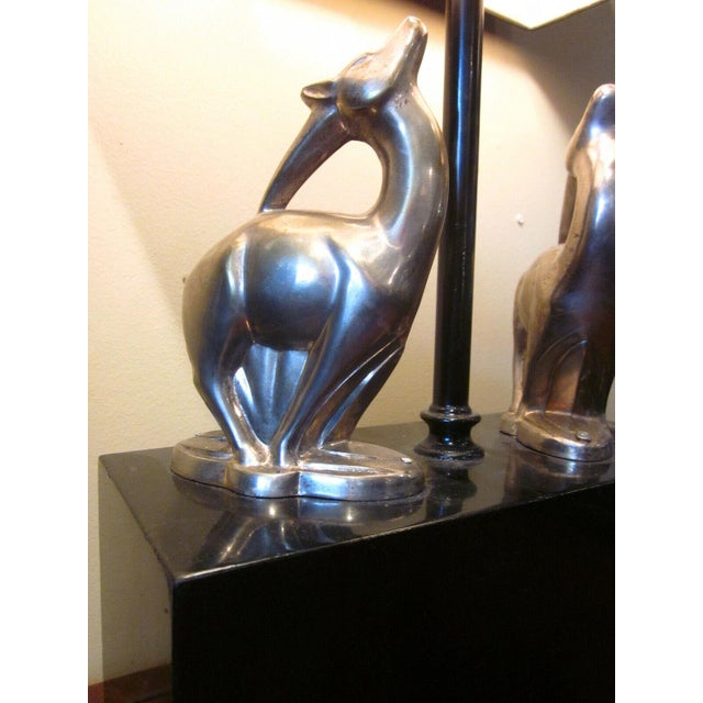 1920s 1920s Vintage 1920s Art Deco Black and Chrome Figural Table Lamp Gazelles Antelope Chrome Animal Figures With Geometric Black Base and Shade For Sale - Image 5 of 9