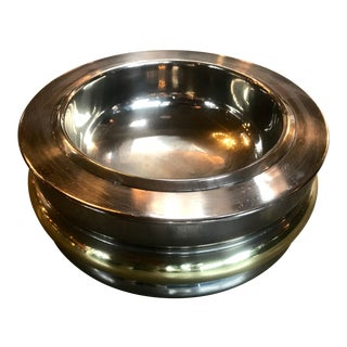 1970s Italian Mid-Century Round Chrome and Brass Ashtray