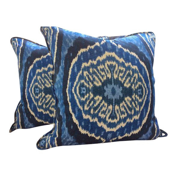 Duralee Masala Denim Pillow Covers - a Pair For Sale