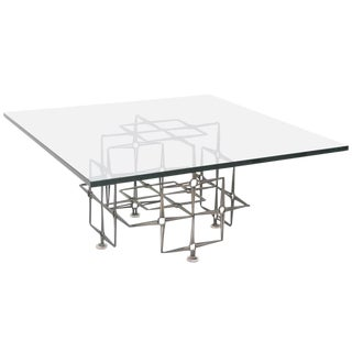 Large Square Brutalist Cocktail Table, Nails and Glass For Sale
