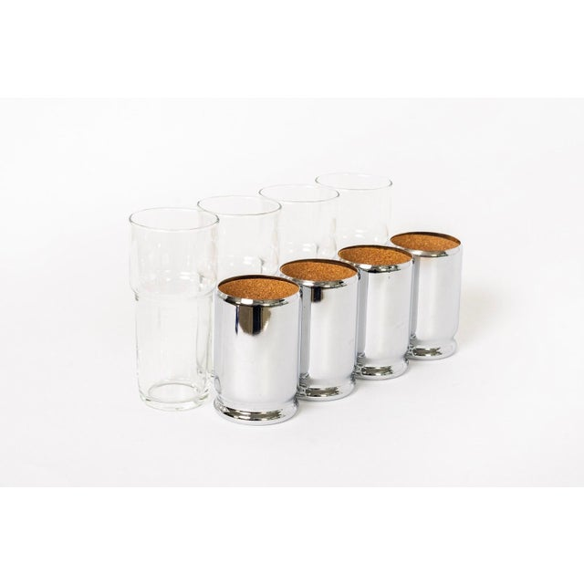 Mid-Century Modern Mid Century Highball Cocktail Glasses With Silver Cork Liners For Sale - Image 3 of 11