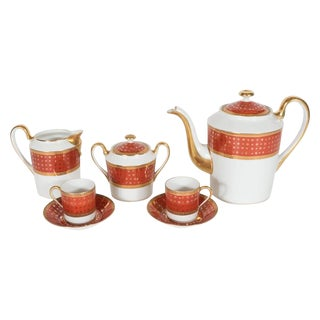 Mid-Century Giraud Limoges Coffee Service in Carnelian and 24-Karat Gold For Sale